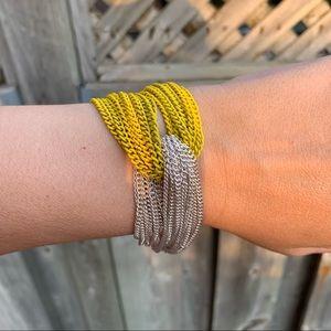 Yellow And Silver Chain Twist Boho Bracelet
